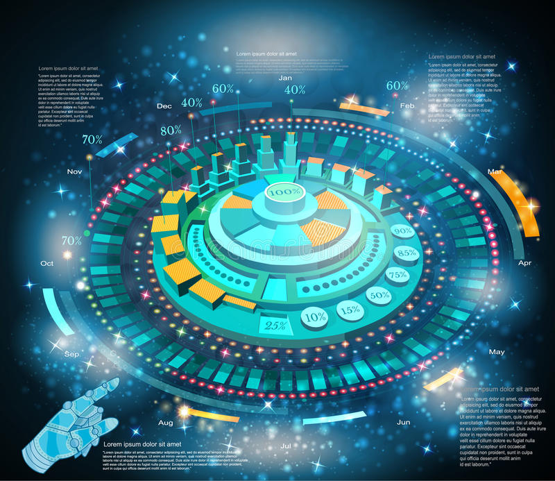 Shiny space background or hightech futuristic interface infographic with hand pointer HUD and GUI. Space background or hightech futuristic interface infographic vector illustration