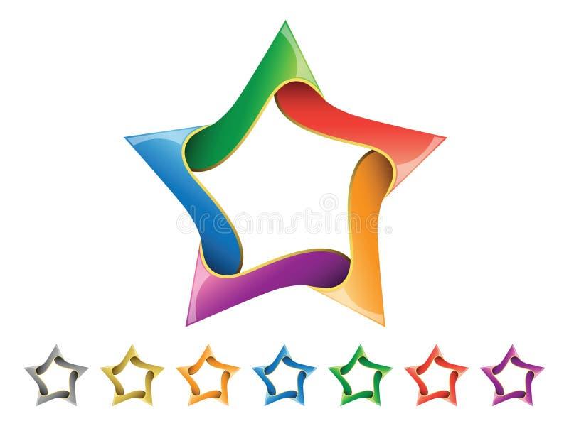 Shiny Star Icon Set vector illustration