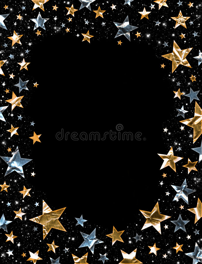 Shiny Stars. A star field of gold and silver stars with a clipping path vector illustration