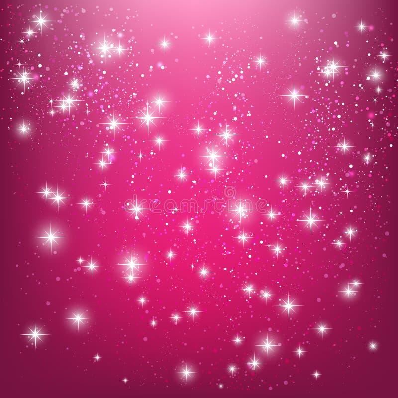 Shiny stars on pink stock illustration