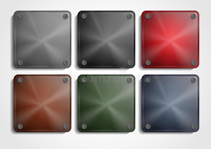 Shiny Steel Square Plate With Screws. App Icons Set. Vector Illustration. Eps 10 stock illustration