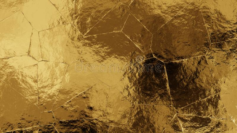 Shiny torn and wrinkled golden foil texture. Crumpled metal background. stock photo