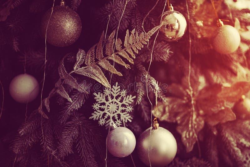 Shiny toy on the Christmas tree. Red shiny toy on the Christmas tree, fairy-tale mood royalty free stock photos