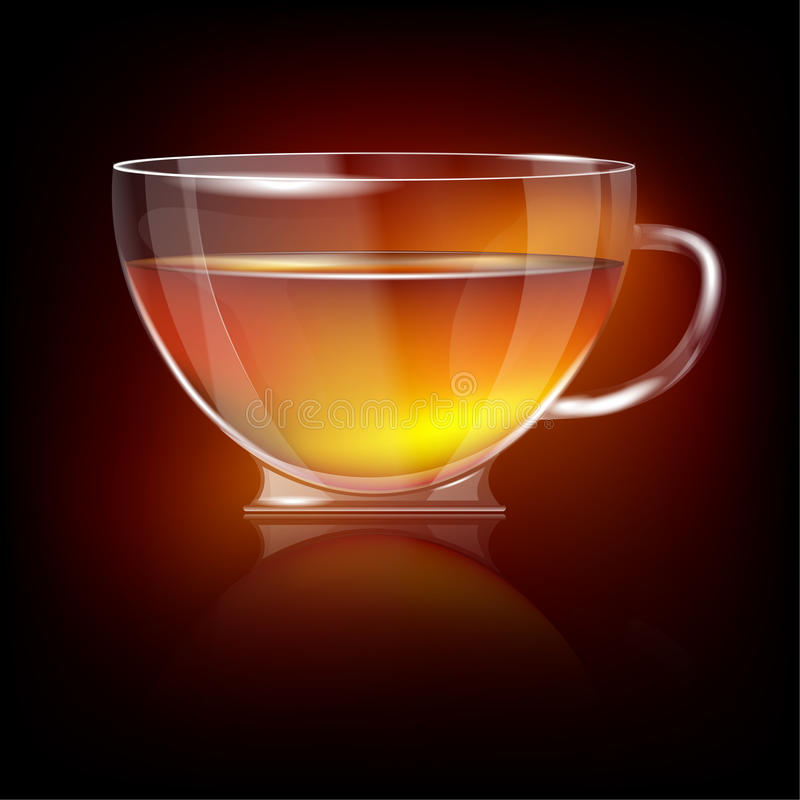 Shiny Transparent Glass Cup With Tea Royalty Free Stock Photography