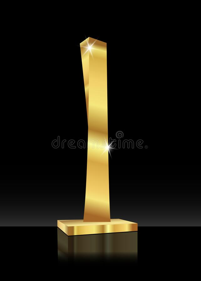 Free Shiny Trophy Abstract Golden 3D Icon. Gold Colored Skyscraper. Sports Prize Or Business Awards Illustration, Stock Photos - 110649783