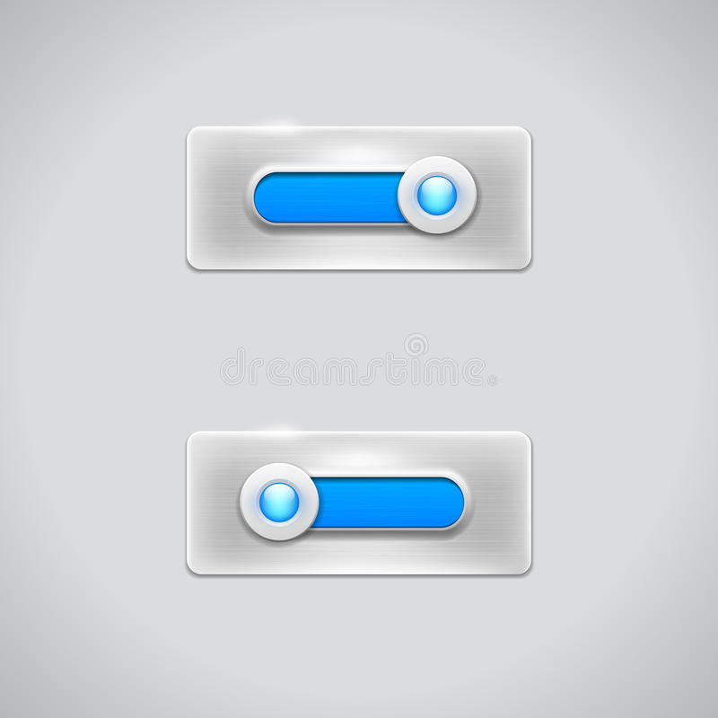 Download Shiny Web Slider In Two Positions On Metal Backgro Stock Vector - Image: 37603704