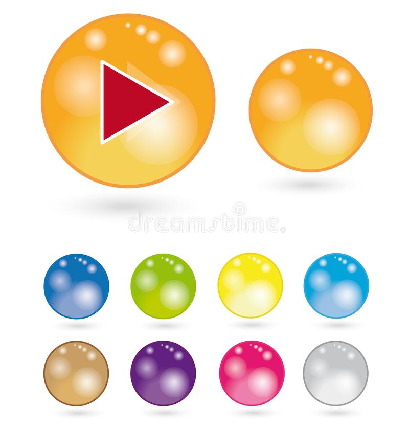 Shiny website icons/ buttons stock images