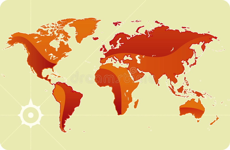 Download Shiny world map stock vector. Image of africa, orange - 7058042