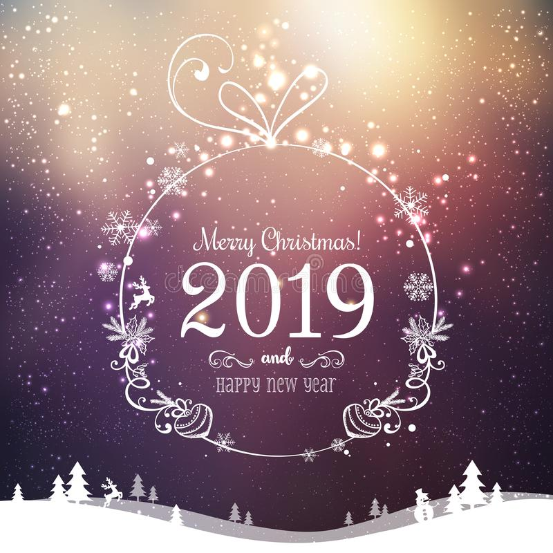 Shiny Xmas ball for Merry Christmas 2019 and New Year on holidays background with winter landscape with snowflakes, light, stars stock illustration