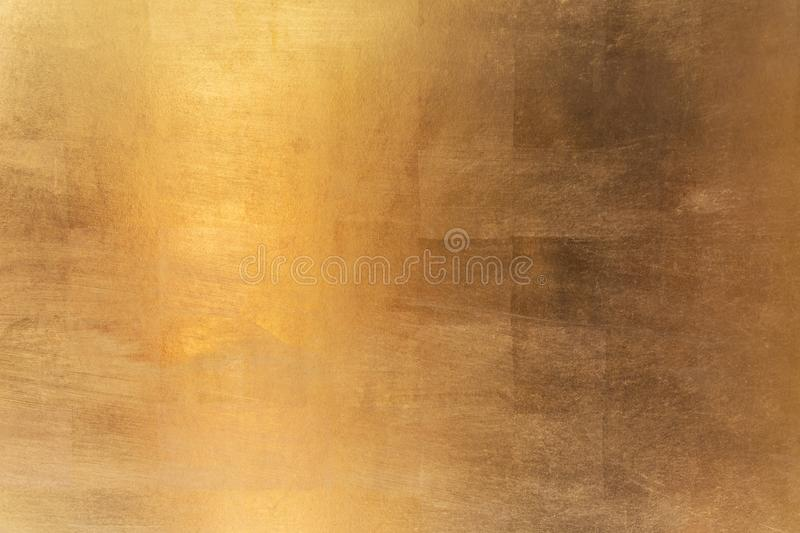 Shiny yellow leaf gold metal texture and background stock photography