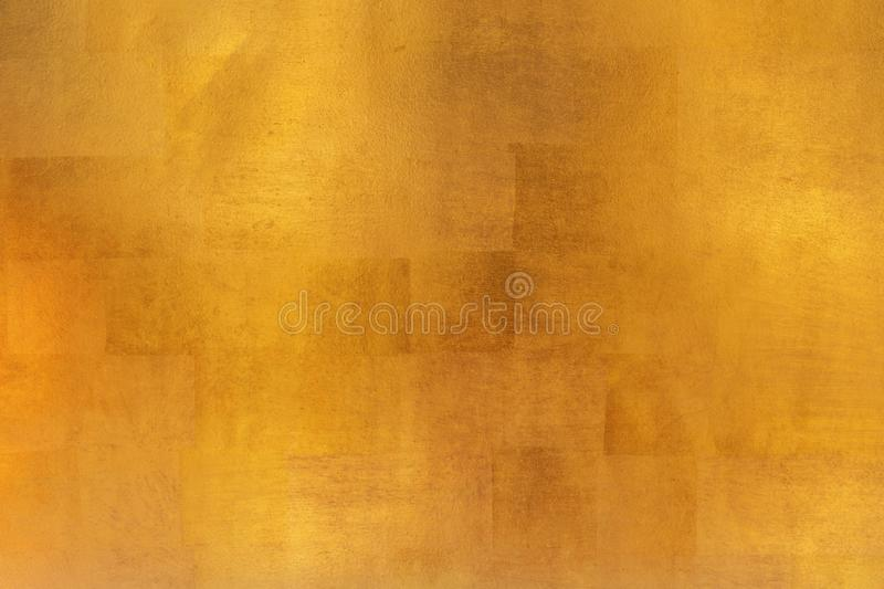 Shiny yellow leaf gold metal texture and background stock images
