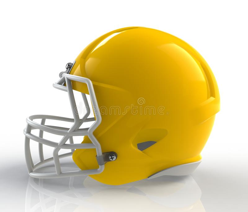 Shiny yellow wax american football helmet side view on a white background with detailed clipping path. 3D rendering stock illustration