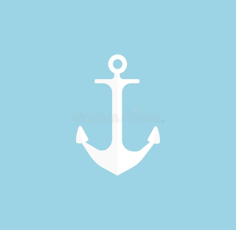 Anchor icon isolated on blue vector illustration