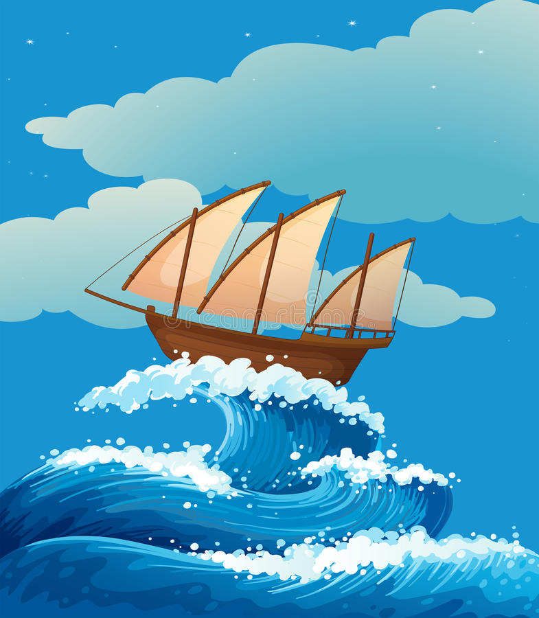 A ship above the giant waves stock illustration