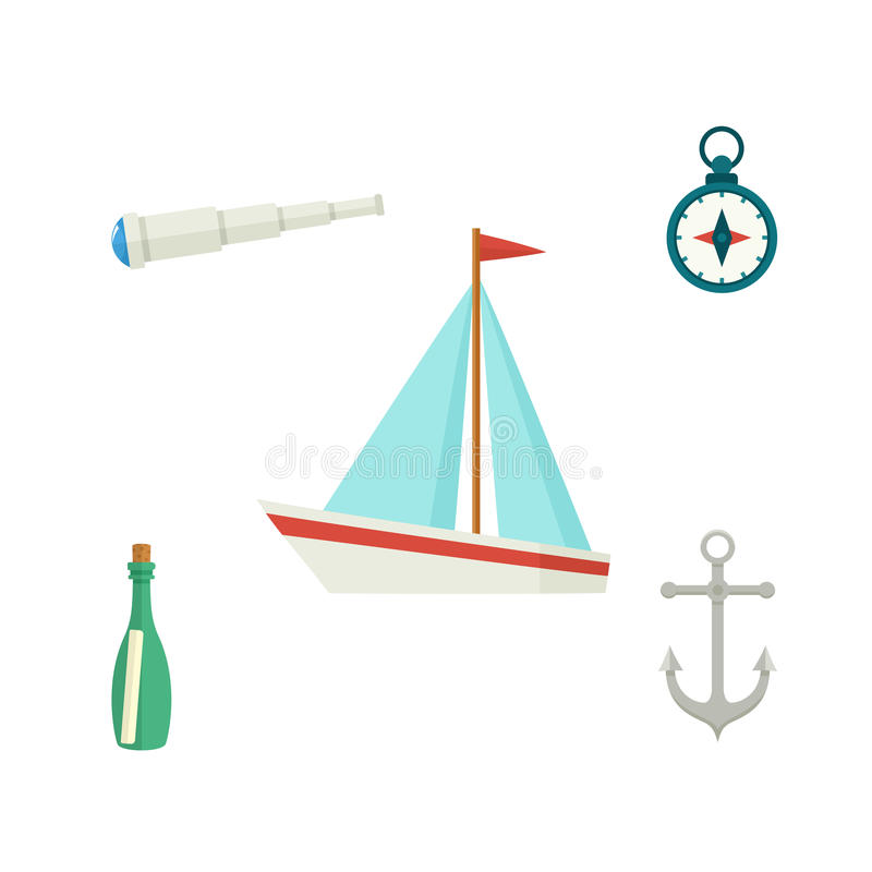 Ship, anchor, compass, telescope, message bottle stock illustration
