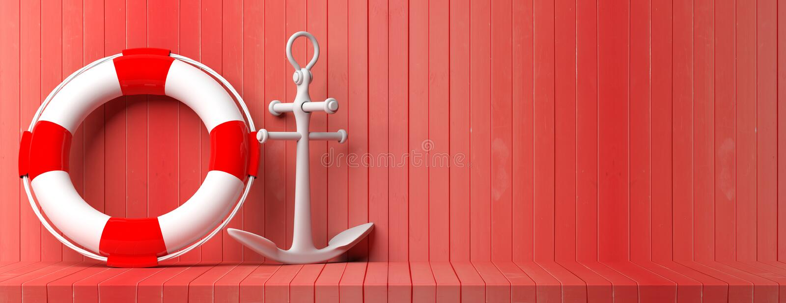 Ship anchor and life buoy on red wooden floor and wall background, banner, copy space. 3d illustration royalty free illustration