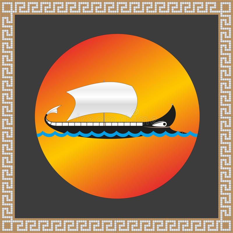 The ship Argo. With the Greek mosaic ornament royalty free illustration