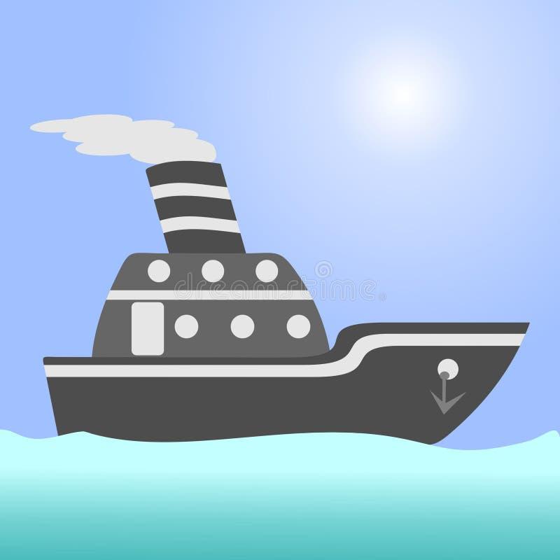 Ship. argo ship in the open ocean. Ship. argo ship in the open ocean stock illustration