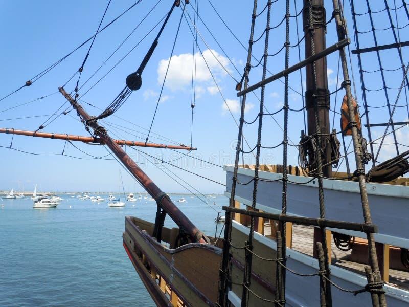 Ship On The Atlantic. Large sailboat docked in Massachusetts on the Atlantic Ocean stock photo