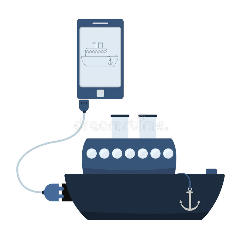 Ship automation using cell phone. Ship connected to a cell phone through a usb cable. Outline of the ship being shown on the mobile monitor. Flat design royalty free illustration