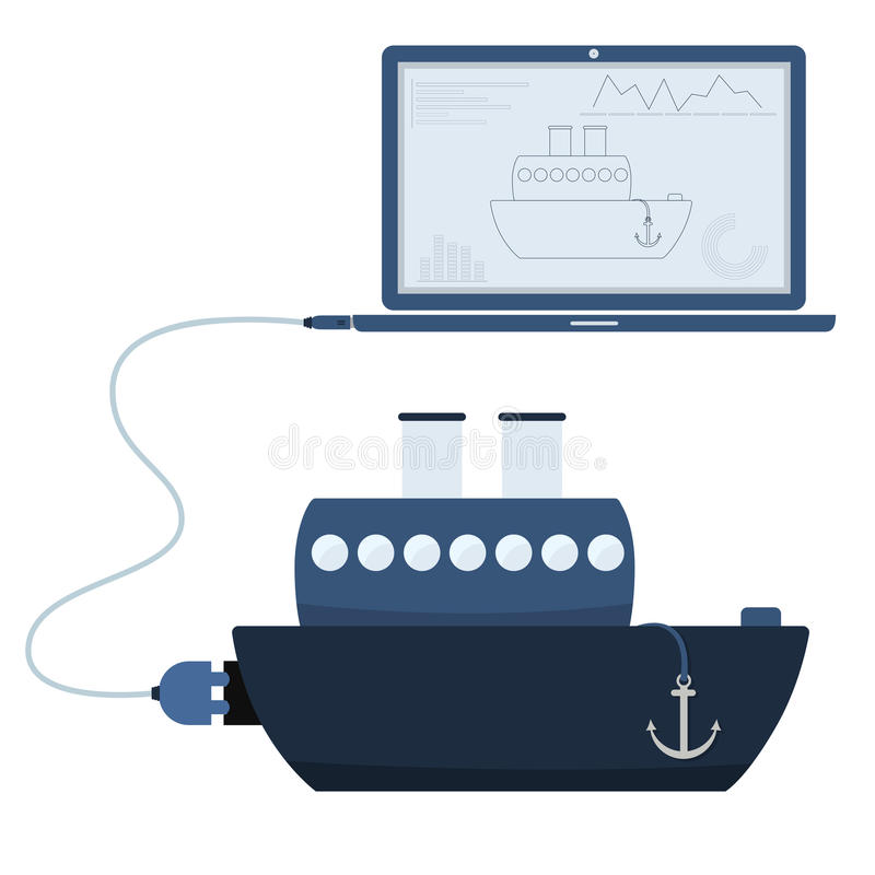 Ship automation using laptop. Ship connected to a laptop through a usb cable. Outline of the ship and graphs being shown on the computer monitor. Flat design stock illustration