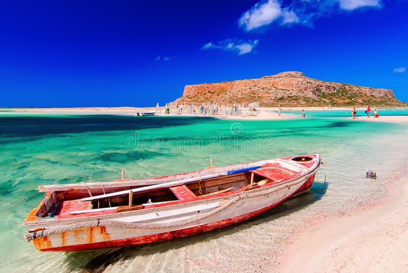 Ship in Balos beach, Crete. Landscape of Balos beach at Crete island in Greece with a ship in the foreground royalty free stock photography