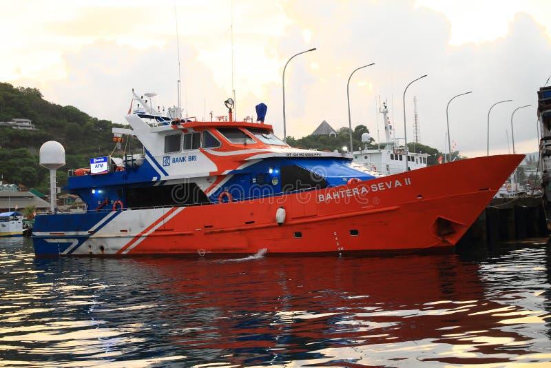Ship of Bank BRI in harbor in Labuan Bajo royalty free stock photography