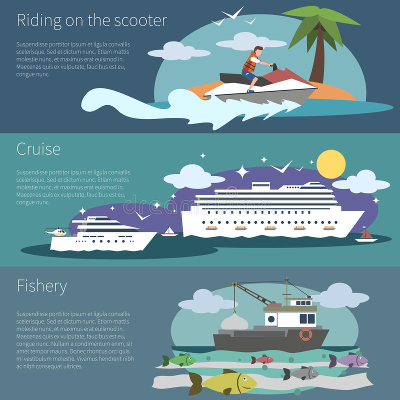 Ship Banner Horizontal. Set with scooter cruise and fishery boat vector illustration royalty free illustration