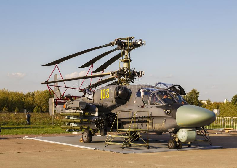 Ship-based combat helicopter Ka-52K Katran at the International Aviation and Space Salon in Zhukovsky royalty free stock image