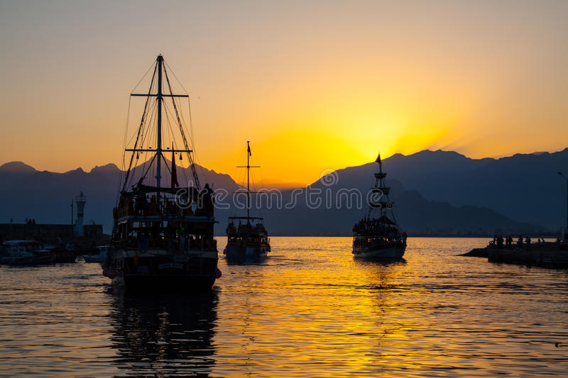 Download Ship in bay at sunset. stock photo. Image of tourism - 43086442