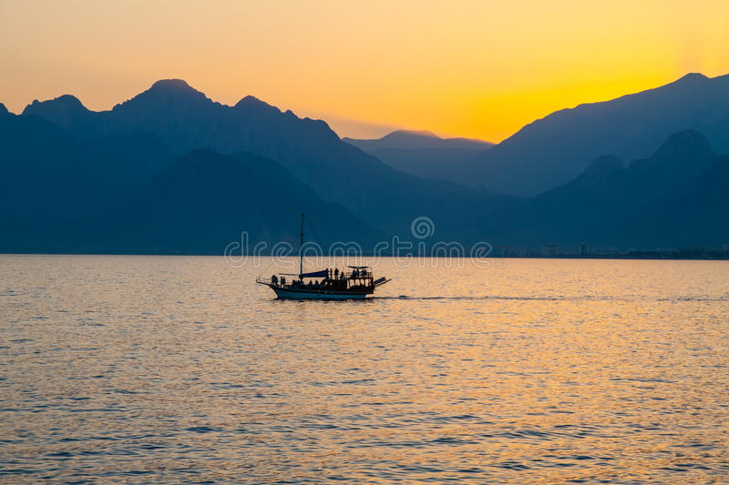 Ship In Bay At Sunset. Stock Photo