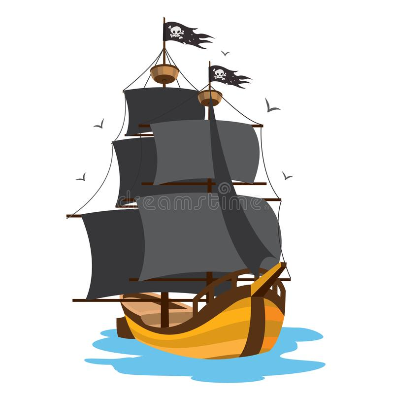 Ship with black sails. Pirate frigate. Pictures on a naval theme.  stock illustration