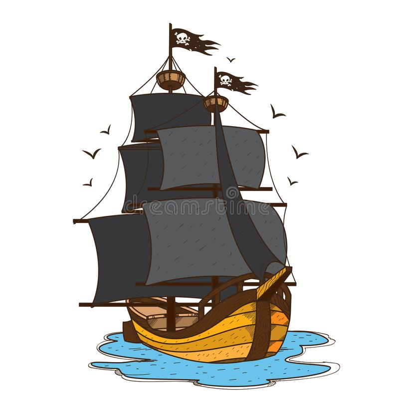 Ship with black sails. Pirate frigate. Pictures on a naval theme.  royalty free illustration