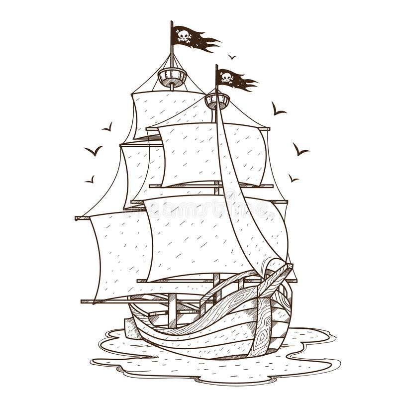 Ship with black sails. Pirate frigate. Pictures on a naval theme.  vector illustration