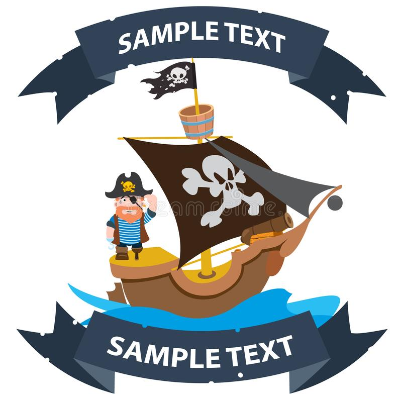 Ship with black sails. Pirate frigate with ribbon banner. Pictures on a naval theme.  vector illustration