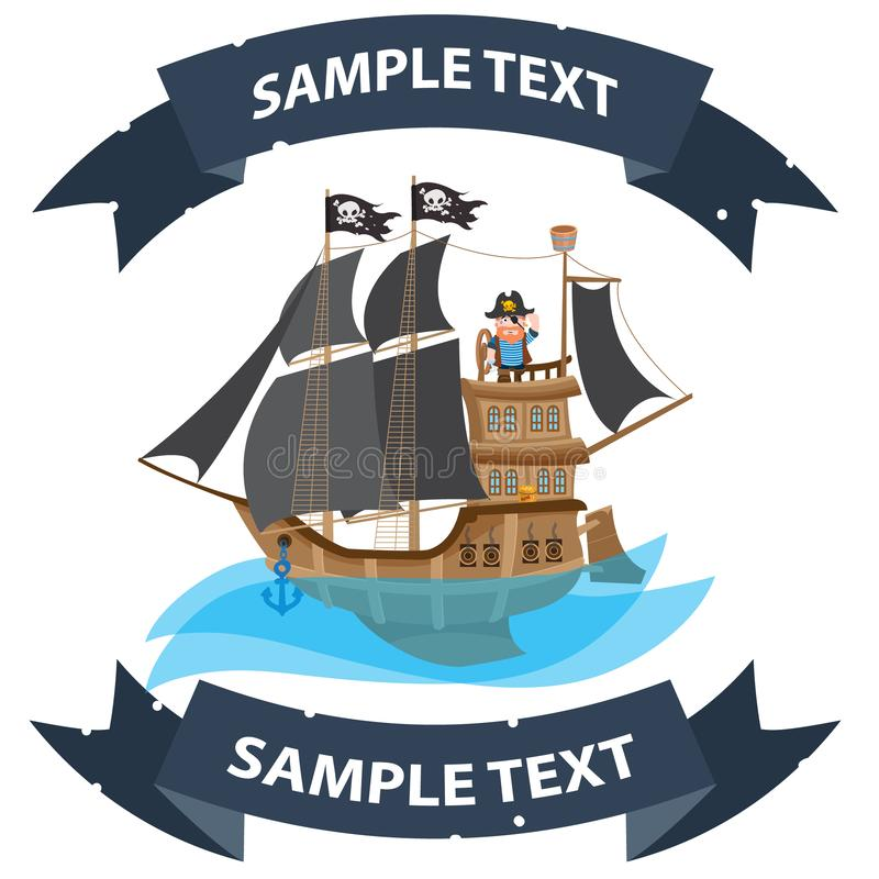 Ship with black sails. Pirate frigate with ribbon banner. Pictures on a naval theme.  royalty free illustration