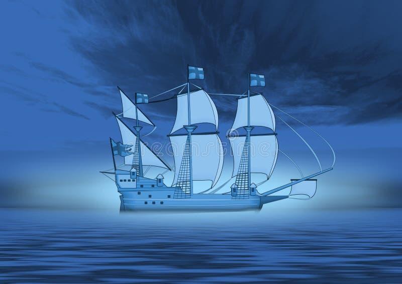 Download Ship in blue stock illustration. Illustration of travel - 3688428
