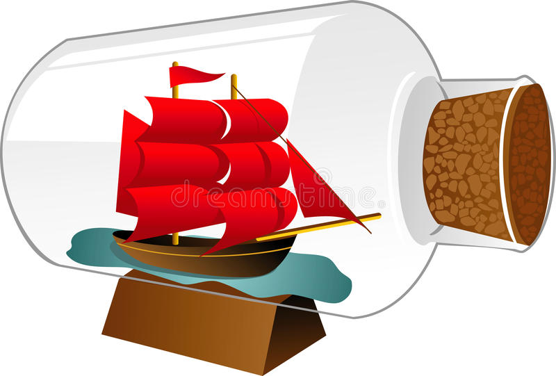 Ship Boat In A Bottle Stock Photos