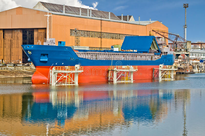 Ship on boat lift royalty free stock images