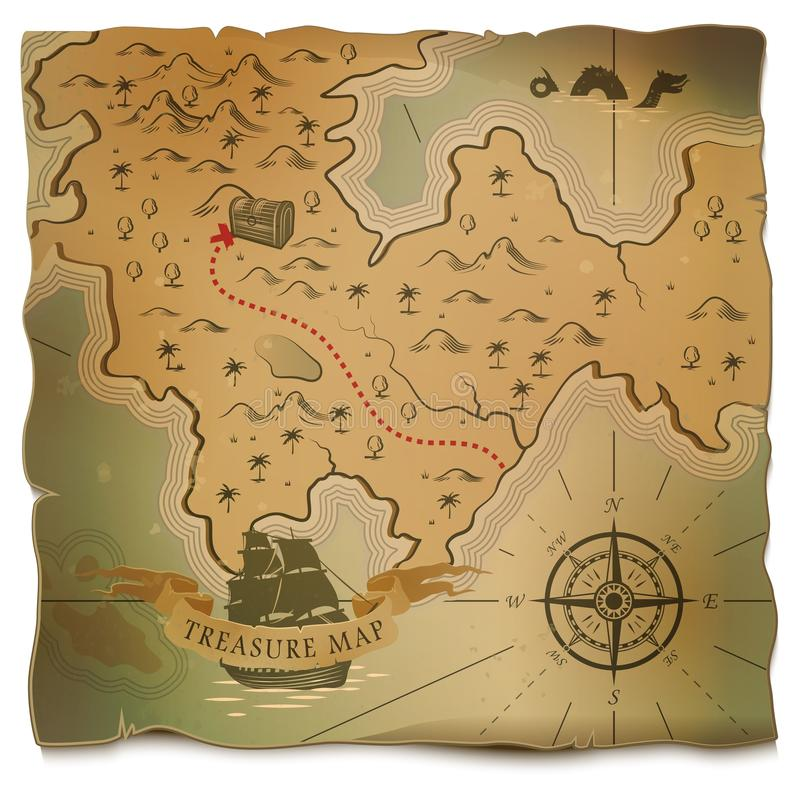 Antique Scroll Map: Ship Or Boat And Treasure On Old Map Stock Vector