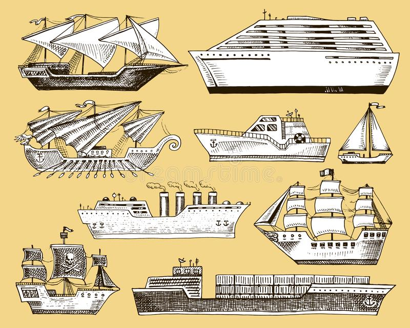 Ship boat vessel sailboat cruise liner or passenger steamship and powerful speedboat or motorboat submarine and yacht. Set illustration  on background royalty free illustration