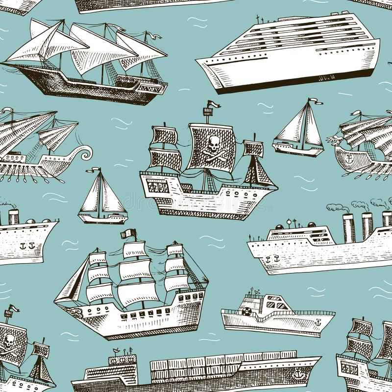 Ship boat vessel sailboat cruise liner or passenger steamship and powerful speedboat or motorboat submarine and yacht. Set illustration seamless pattern vector illustration