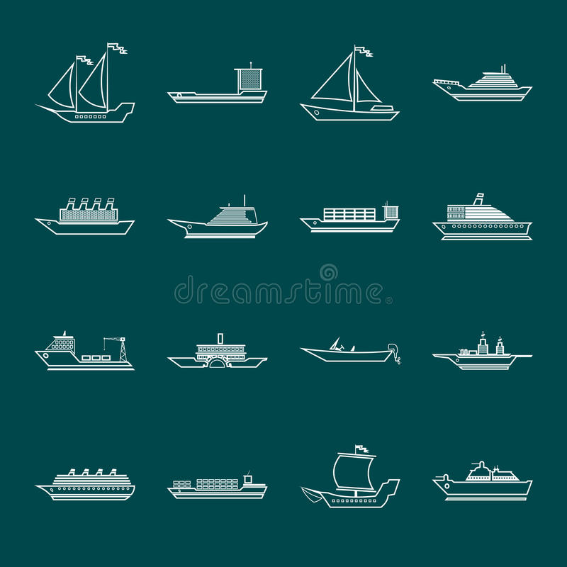 Ship and boats icons set outline stock illustration