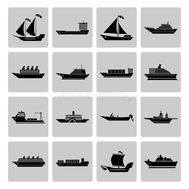 Ship and Boats Icons Set vector illustration