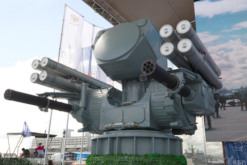 Ship-borne anti-aircraft missile-artillery complex `Pantsir-ME` on the annual International Maritime defense show. RUSSIA, SAINT-PETERSBURG - JULY 02, 2017: Ship stock photography
