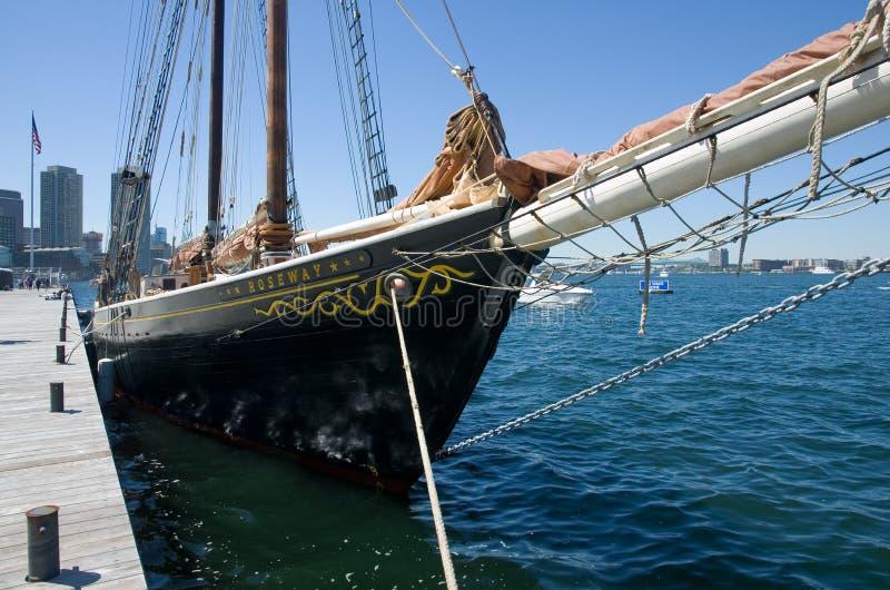 Ship in Boston harbor, USA stock photo