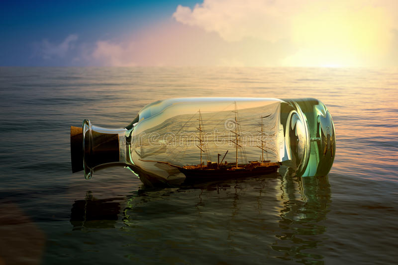 Ship in a bottle vector illustration