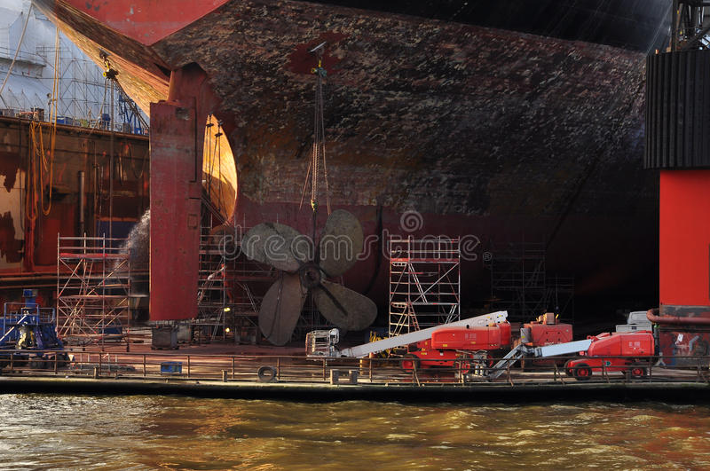 Ship building dock. Shipyard in Hamburg, Germany stock photo