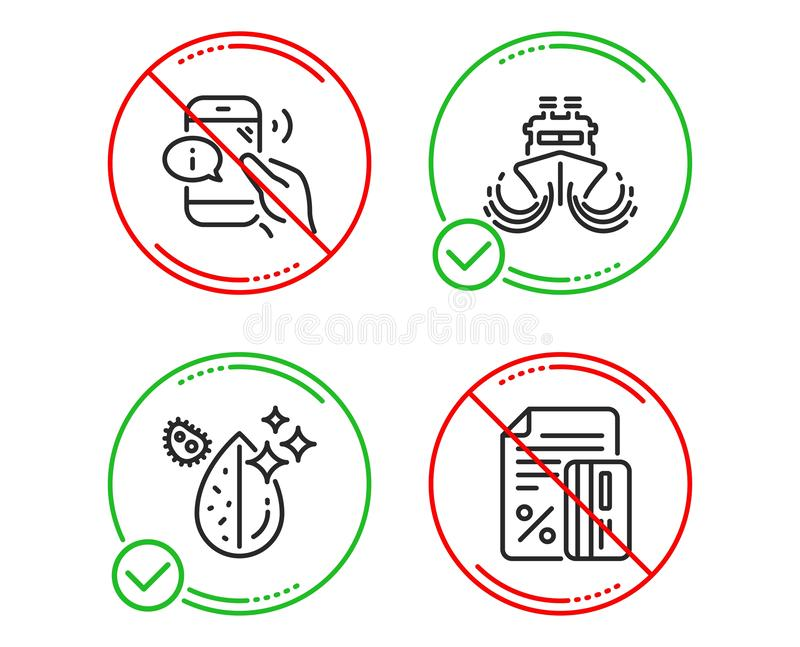 Ship, Call center and Dirty water icons set. Credit card sign. Shipping watercraft, Phone support, Aqua drop. Vector stock images