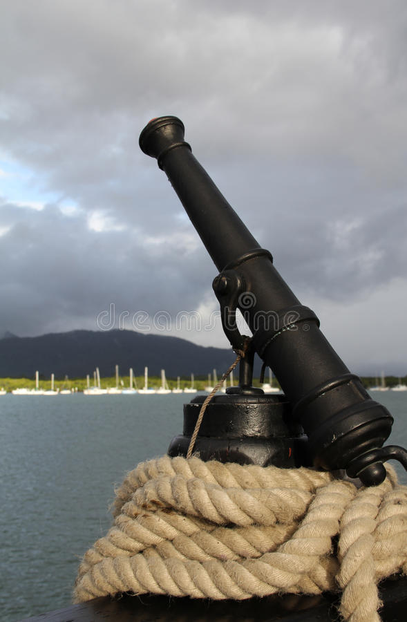 Ship cannon and rope stock image